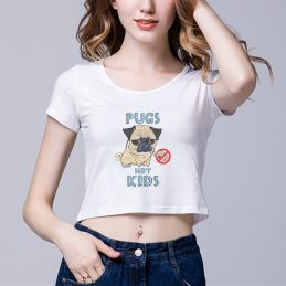 2017-New-Fashion-Ladies-Short-Crew-Neck-T-Shirt-Pugs-Not-Kids-Cute-Design-Retro-Regular2