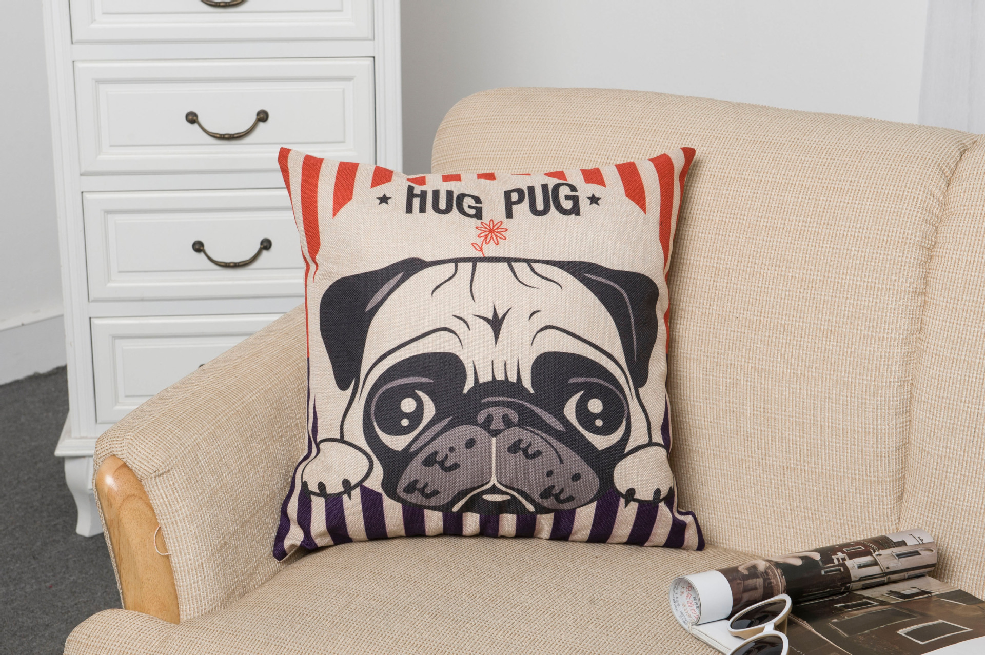 Pug 18 39 39 nordic style animal pillowcase painting for Nordic inspired decor