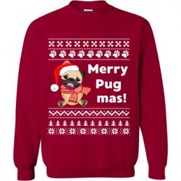 Merry Pugmas Christmas Sweater Funny Gift for Pug Lovers