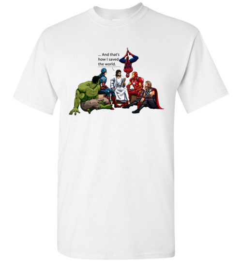 JESUS AND SUPERHEROES funny Tee Shirt