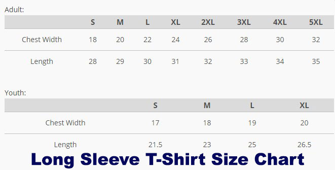 Canvas Long Sleeve T-Shirt Size Table