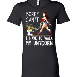 $19.95 - Wonder Woman: Sorry Can't I Have To Walk My Unicorn T-Shirt