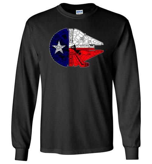 $23.95 - Texas Flag And The Millennium Falcon Canvas Long Sleeve T-Shirt