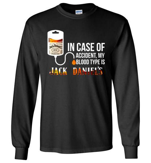 c97ecd0e $23.95 – In Case Of Accident My Blood Type Is Jack Daniel's Canvas Long  Sleeve T-Shirt