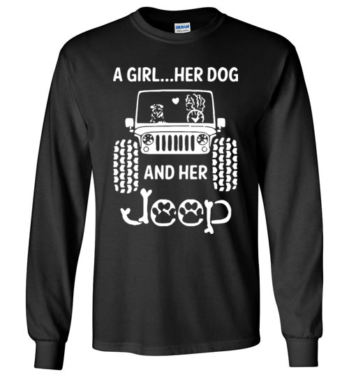 $23.95 - A Girl Her Dog and Her Jeep Funny Canvas Long Sleeve T-Shirt