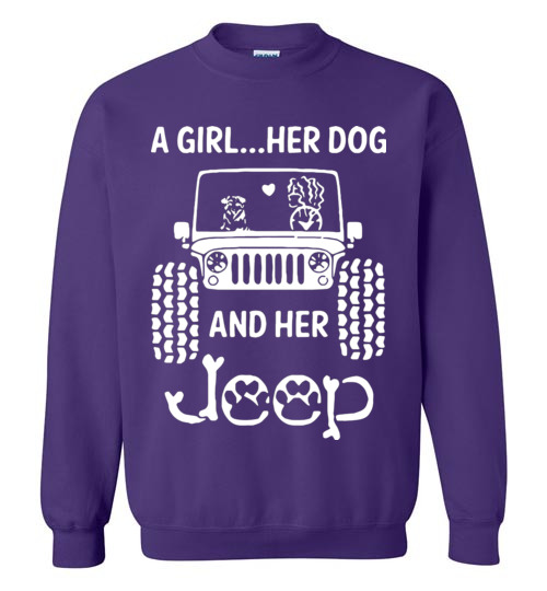 79ae9adebe38 A Girl Her Dog and Her Jeep Funny T-Shirt