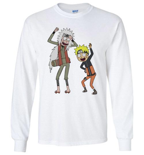 $23.95 - Rick and Morty – Naruto and Jiraiya Funny Canvas Long Sleeve T-Shirt