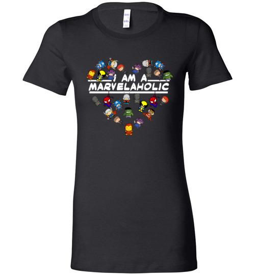 $19.95 - Marvel funny Shirts: I am a Marvelaholic Lady T-Shirt
