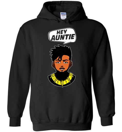 $32.95 - Funny Marvel Shirts: Hey Auntie, Erik Killmonger Hey Auntie Black Panther Wakanda Hoodie