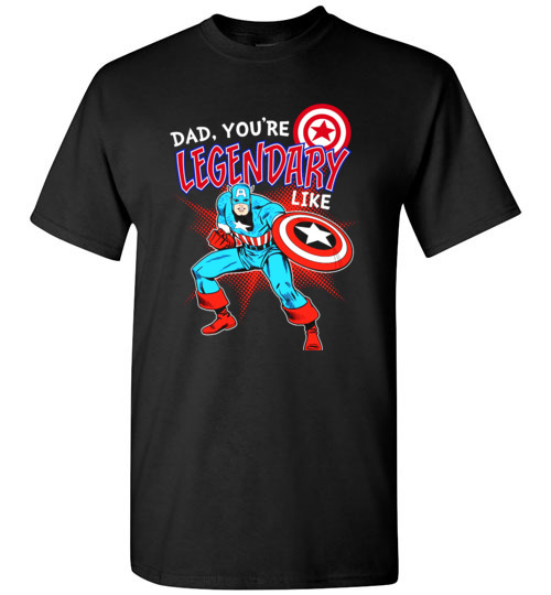 $18.95 - Marvel Captain Legendary Dad Father's Day Graphic T-Shirt