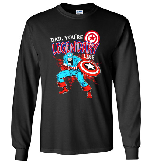 $23.95 - Marvel Captain Legendary Dad Father's Day Graphic Long Sleeve Shirt
