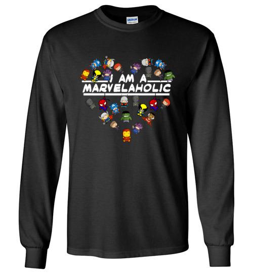 $23.95 - Marvel funny Shirts: I am a Marvelaholic Long Sleeve