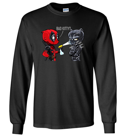 f44fa2b65 $23.95 – Funny Marvel shirts: Deadpool and Black Panther – bad kitty Long  Sleeve