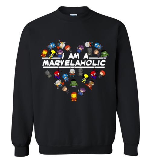 $29.95 - Marvel funny Shirts: I am a Marvelaholic Sweatshirt