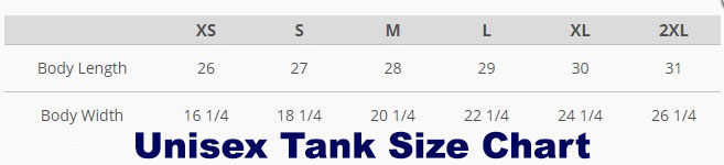 unisex tank size table