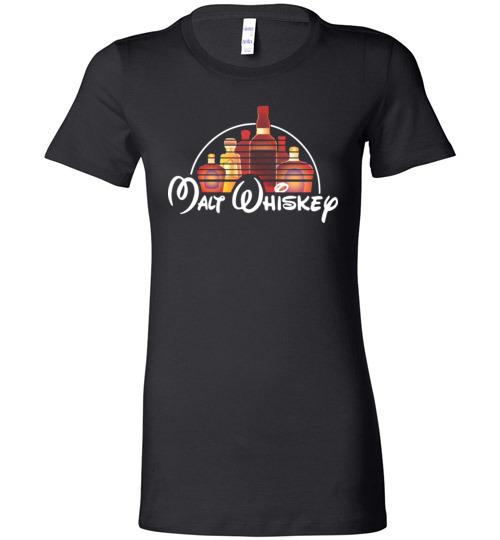 $19.95 - Malt Whiskey funny Walt Disney Shirts for wine drinker Lady T-Shirt
