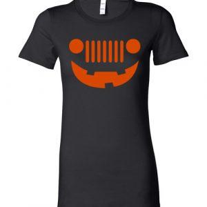 $19.95 - Funny Happy Jeepinit Halloween shirts: pumpkin jeep Lady T-Shirt