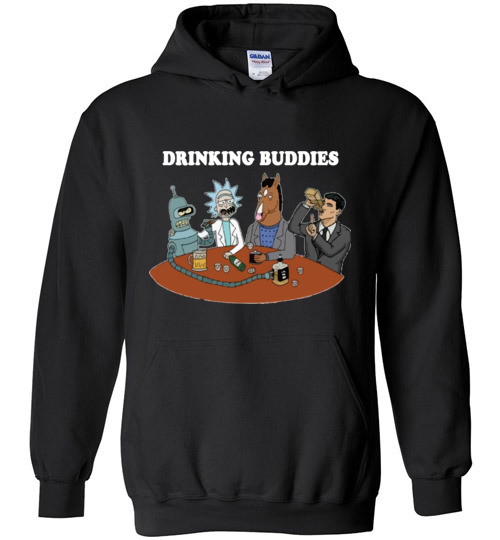$32.95 - Drinking buddies - Funny Rick and morty's Szechuan Sauce, Ailen drinking shirts for drinkers Hoodie