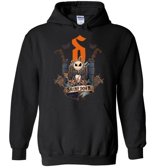 $32.95 - Funny Halloween shirts - Jack Skellington Shinedown Hoodie