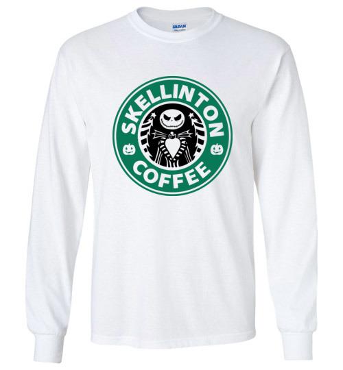 $23.95 - Jack Skellinton Coffee funny Long Sleeve