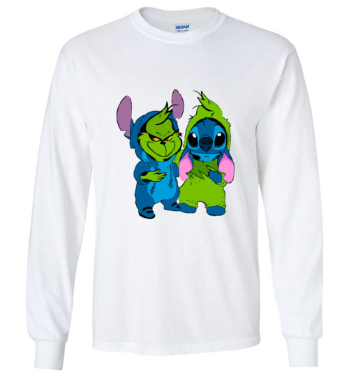 $23.95 - Baby Grinch and Stitch funny Long Sleeve