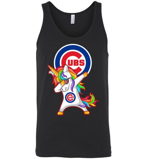 $24.95 - Funny Chicago Cubs Shirts: Unicorn Dabbing Unisex Tank