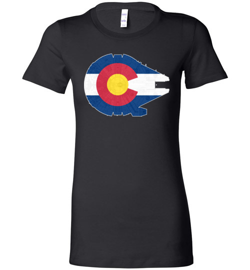 $19.95 - Colorado Flag And The Millennium Falcon Lady T-Shirt