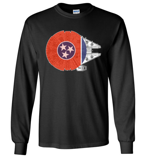$24.95 -Tennessee Flag And The Millennium Falcon Canvas Long Sleeve T-Shirt