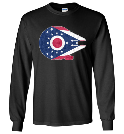 $23.95 - Ohio Flag And The Millennium Falcon Long Sleeve T-Shirt