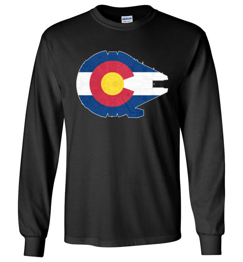 $23.95 - Colorado Flag And The Millennium Falcon Long Sleeve T-Shirt