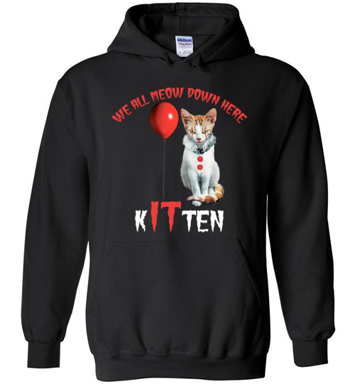 $32.95 - Scary Creepy We All MEOW Down Here Clown Cat Kitten Hoodie