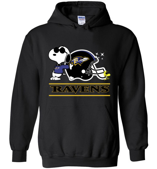 $32.95 - The Baltimore Ravens Joe Cool And Woodstock Snoopy Football Hoodie