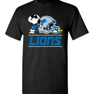 $18.95 - The DETROIT LIONS Joe Cool And Woodstock Snoopy Football T-Shirt