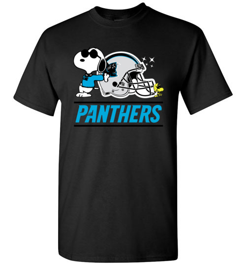 $18.95 - The Carolina Panthers Joe Cool And Woodstock Snoopy Football T-Shirt