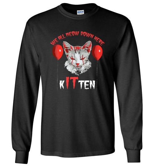 $23.95 - We All MEOW Down Here Clown Cat Kitten IT Halloween Long Sleeve Shirt