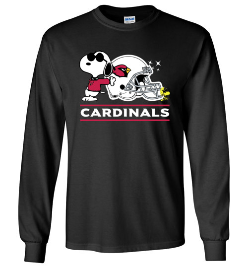 $23.95 - The Arizona Cardinals Joe Cool And Woodstock Snoopy Football Long Sleeve Shirt