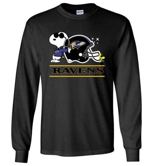 $23.95 - The Baltimore Ravens Joe Cool And Woodstock Snoopy Football Long Sleeve Shirt