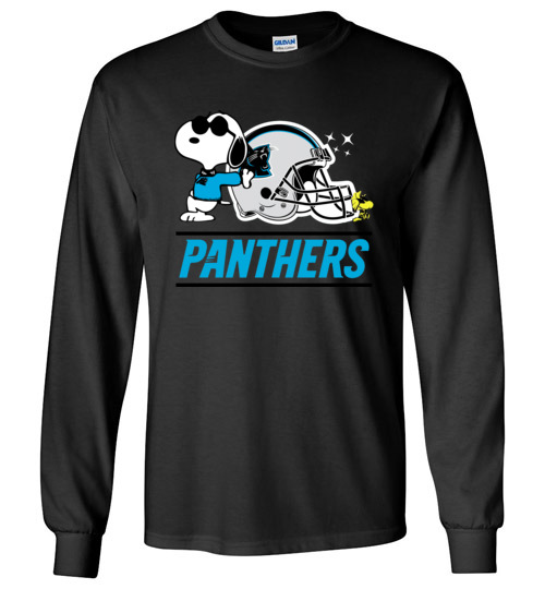 $23.95 - The Carolina Panthers Joe Cool And Woodstock Snoopy Football Long Sleeve Shirt