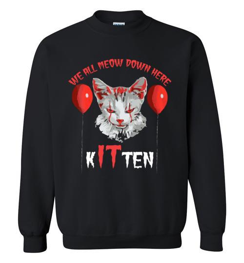 $29.95 - We All MEOW Down Here Clown Cat Kitten IT Halloween Sweatshirt