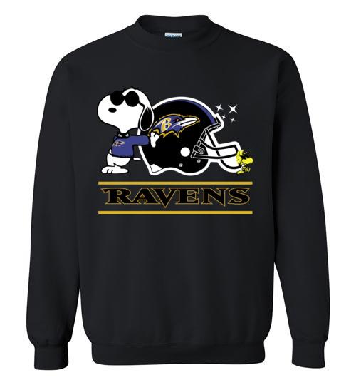 $29.95 - The Baltimore Ravens Joe Cool And Woodstock Snoopy Football Sweatshirt