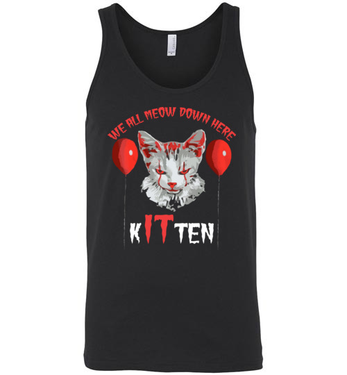 $24.95 - We All MEOW Down Here Clown Cat Kitten IT Halloween Unisex Tank